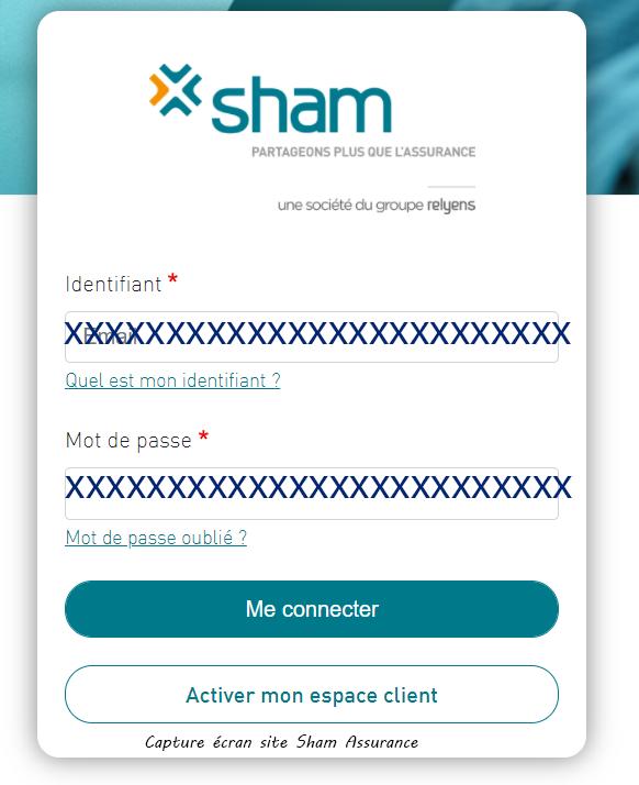 connexion espace client Sham